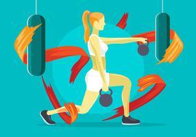 Exercício de mulher com Kettlebell