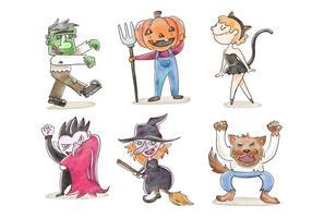 Cute Children in Halloween Costumes Vectors