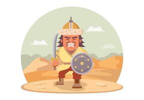 Guerreiro mongol irritado com uma espada vetor