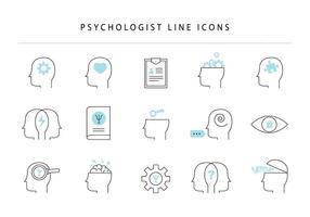 Ícones de linha de psicólogo vetor