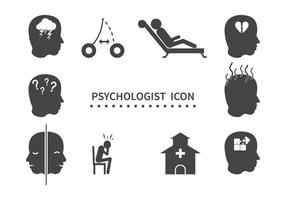 Conjunto grátis de ícones de psicólogo vetor