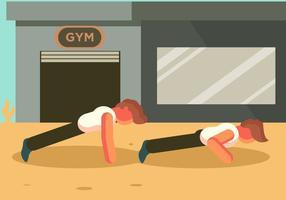 Duas pessoas fazendo push up vector