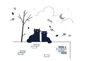 Vector de gato preto grátis