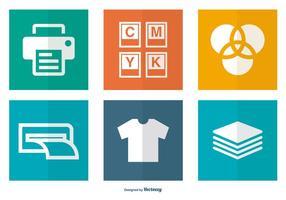Coleção de ícones relacionados à impressão vetor