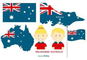 Elementos de estilo plano de Austrália vetor