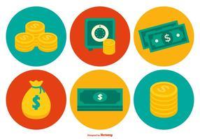 Coleção colorida de ícones de dinheiro