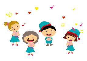 Livre Kids Singing Carols Vector