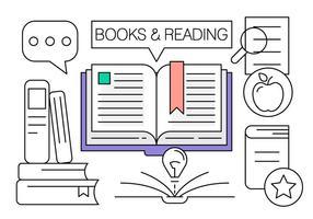 Ícones de livros lineares vetor