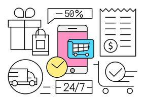 Ilustração vetorial de compras lineares vetor