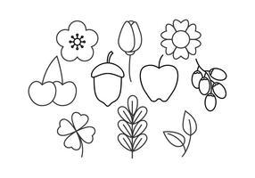 vetor de linha floral grátis