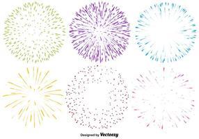 Conjunto de vetores de ícones de fogo de artifício multicoloridos