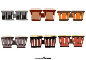Ícones desenhados a mão de tambor bongo vetor