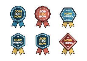 Agora contratando e junte-se a coleção de vetores de emblemas
