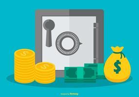 Ilustração da caixa forte com moedas, saco de dinheiro e contas