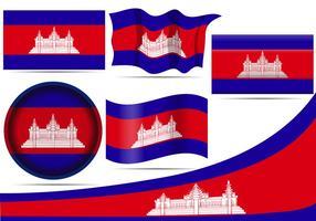 Bandeiras do Camboja vetor