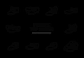 Vetor de ícones de sapatilhas femininas