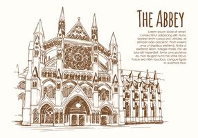Abadia desenhada a mão vetor