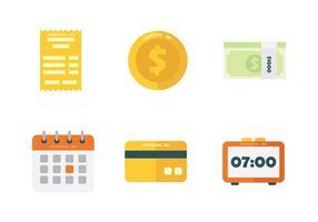 Conjunto de ícones da folha de pagamento vetor