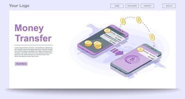 página da web de transferência global de dinheiro vetor