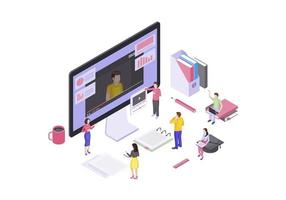 vídeo tutoriais isométricos vetor