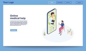 ajuda médica online isométrica vetor