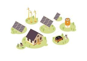 conjunto de energia renovável