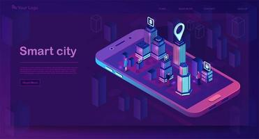 página de destino isométrica da cidade inteligente vetor