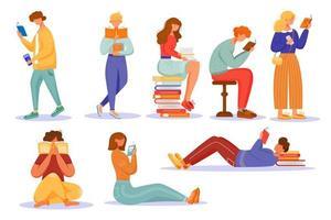 pessoas lendo livros vetor