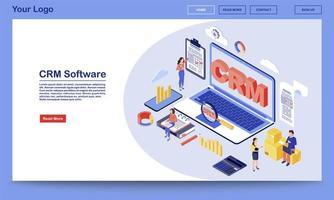 página de destino isométrica do software crm vetor