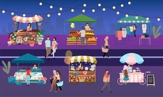 conjunto de vendedor de feira noturna vetor
