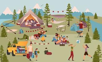 turistas em acampamento de verão vetor