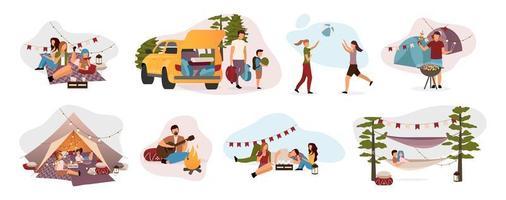 conjunto de visitantes do acampamento de verão vetor