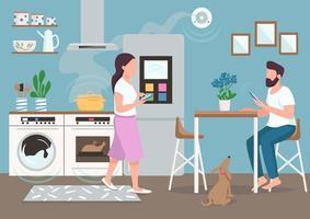 casal na cozinha inteligente vetor