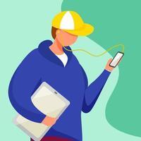 jovem com tablet assistindo smartphone vetor