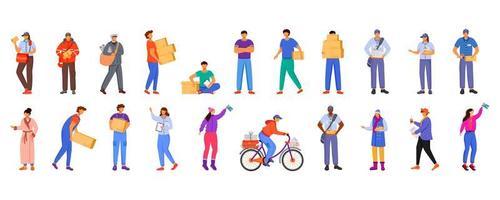 trabalhadores masculinos e femininos dos correios vetor