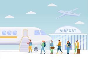 passageiros embarcando no avião vetor