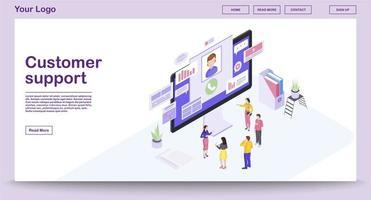 página da web do centro de suporte ao cliente vetor