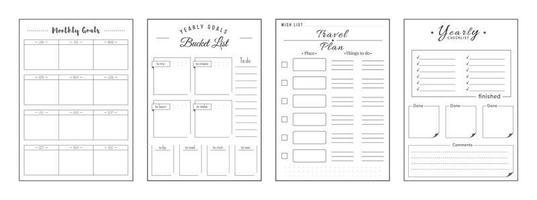 conjunto de páginas do planejador minimalista de prioridades e desejos vetor