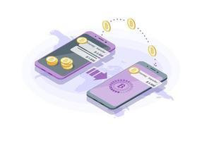 isométrica de transferência internacional de dinheiro vetor