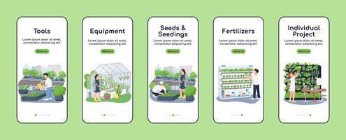 itens de jardinagem na tela do aplicativo móvel vetor