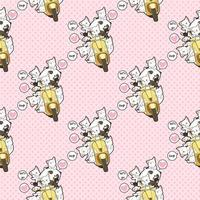 moto panda kawaii perfeita com padrão de amigos vetor
