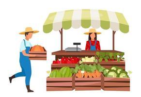 vendedor de mercado de fazendeiros vetor