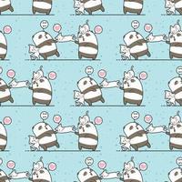 Padrão de amizade de personagens gato e panda kawaii