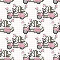 pandas kawaii perfeitos e padrão rosa de motocicleta vetor