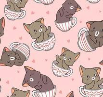 gato adorável padrão sem costura dentro do copo vetor