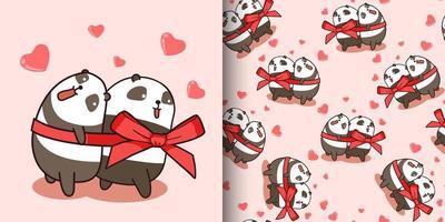 padrão sem emenda casal personagem panda está amando