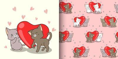 personagens de gato kawaii de padrão sem emenda e coração vermelho vetor