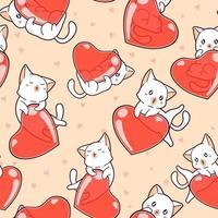 gatos e corações adoráveis padrão sem emenda vetor