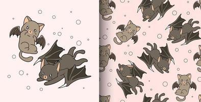 desenho à mão de 2 personagens de gato dragão kawaii vetor