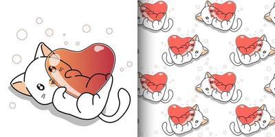 padrão sem emenda gato kawaii abraçando o coração vetor